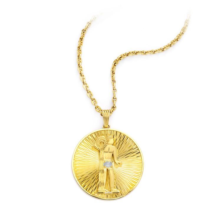 A Gold Aquarius Pendant, circa 1970