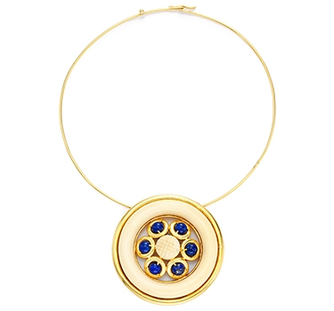 An Ivory, Lapis Lazuli And Gold Pendant Necklace, By Cartier, Circa 1975