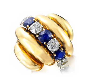 A Retro Sapphire, Diamond and Gold Ring, by Van Cleef & Arpels, circa 1940
