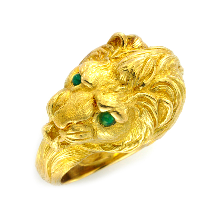 A Gold and Emerald Lion Ring, by Van Cleef & Arpels, circa 1970