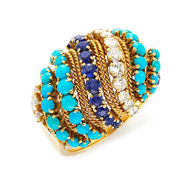 A Turquoise, Sapphire and Diamond Ring, circa 1970