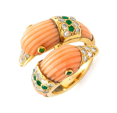 A Coral, Emerald and Diamond Swans Ring, by Van Cleef & Arpels, circa 1970