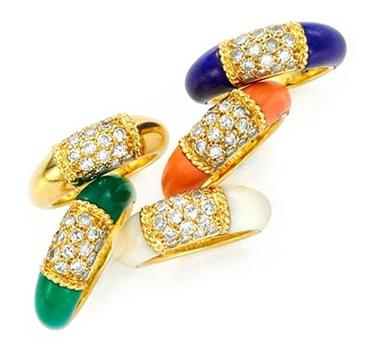 A Set Of Multi-gem And Diamond 'Philippine' Rings, By Van Cleef & Arpels, Circa 1970