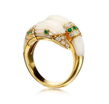 A Coral, Tsavorite and Diamond Double Swan Ring, by Van Cleef & Arpels, circa 1970