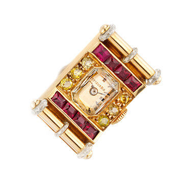 A Retro Ruby, Gold and Diamond Ring Watch, by Van Cleef & Arpels, circa 1940