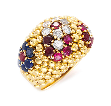 A Ruby, Diamond and Sapphire Ring, by Van Cleef & Arpels, circa 1960