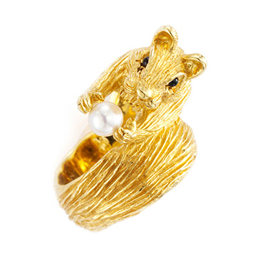 A Gold and Cultured Pearl Squirrel Ring, by Van Cleef & Arpels