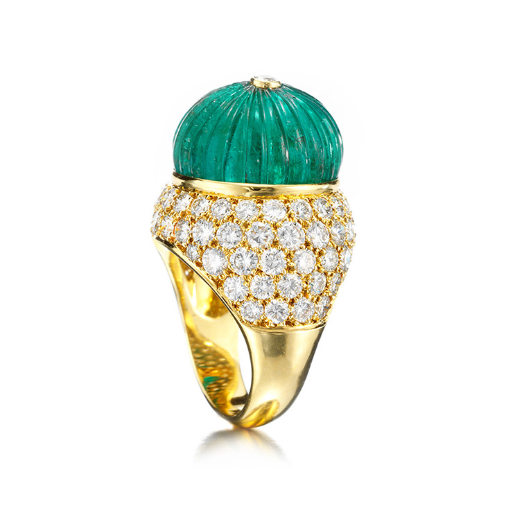 An Emerald Bead and Diamond Ring, by Van Cleef & Arpels, circa 1960