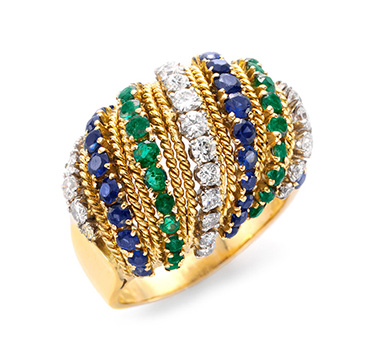 A Sapphire, Emerald and Diamond Ring, by Van Cleef & Arpels, circa 1960