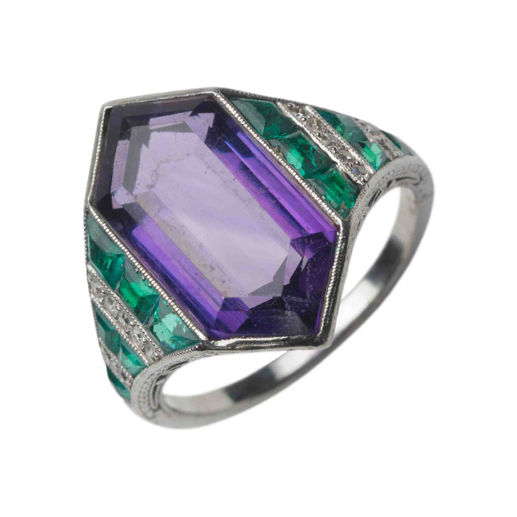 An Art Deco Amethyst and Emerald Ring, by Van Cleef & Arpels