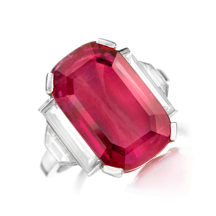 An Art Deco Ruby and Diamond Ring, by Van Cleef & Arpels
