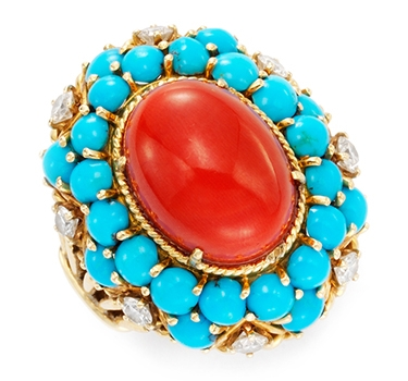 A Coral And Turquoise Ring, By Van Cleef & Arpels, Circa 1975