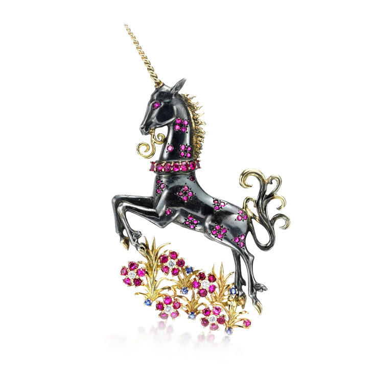 A Gold, Silver, Ruby and Diamond Unicorn Brooch, by Van Cleef & Arpels, circa 1945