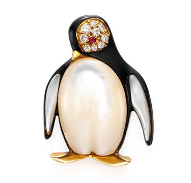 A Multi-gem and Diamond Penguin Brooch, by Van Cleef & Arpels