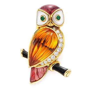 A Multi-gem and Diamond Owl Brooch, by Van Cleef & Arpels