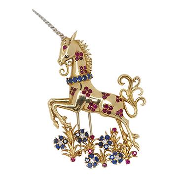 A Retro Multi-gem and Gold Unicorn Brooch, Van Cleef & Arpels