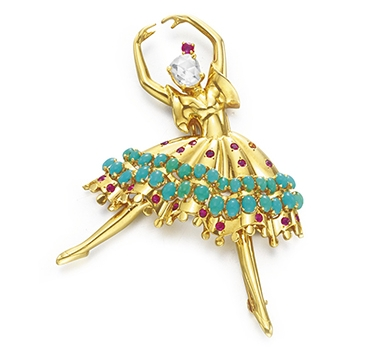 A Multi-gem And Gold Ballerina Brooch, By Van Cleef & Arpels