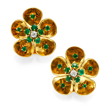 A Pair of Retro Emerald and Diamond Flower Ear Clips, by Van Cleef & Arpels, circa 1940