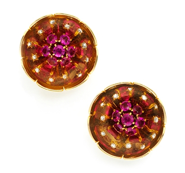 A Pair Of Retro Ruby And Diamond Flower Ear Clips, By Van Cleef & Arpels, Circa 1940