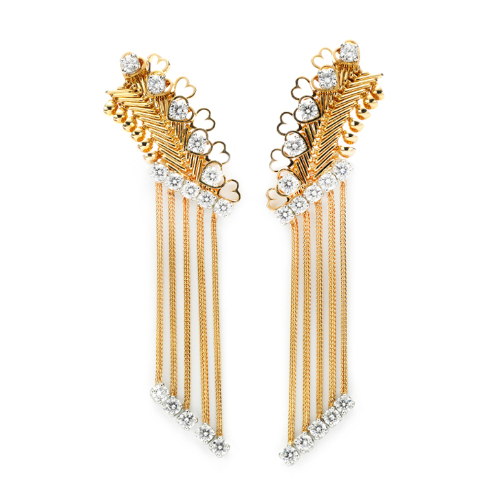 A Pair of Gold and Diamond 'ZIP' Ear Pendants, by Van Cleef & Arpels