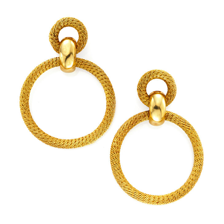 A Pair of Textured Gold Hoop Ear Pendants, by Van Cleef & Arpels, circa 1970