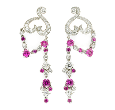 A Pair of Pink Sapphire and Diamond 'Birds of Paradise' Ear Pendants, by Van Cleef & Arpels