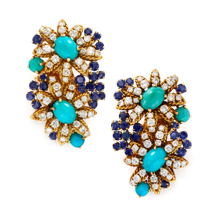 A Pair of Turquoise, Sapphire and Diamond Ear Clips, by Van Cleef & Arpels, circa 1965