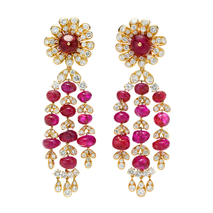 A Pair of Ruby and Diamond Ear Pendants, by Van Cleef & Arpels, circa 1960