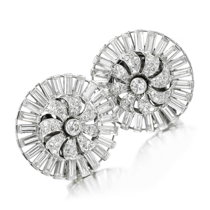 A Pair of Diamond and Platinum Pin Wheel Ear Clips, by Van Cleef & Arpels, circa 1974