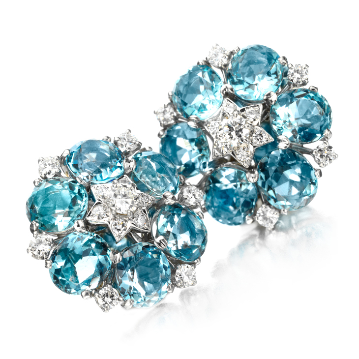 A Pair of Aquamarine and Diamond Ear Clips, by Van Cleef & Arpels, circa 1947