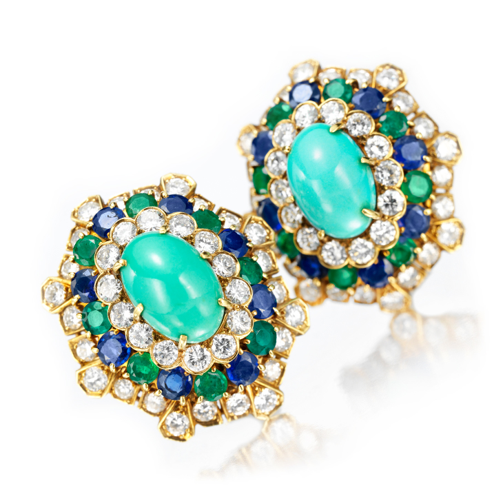 A Pair of Turquoise, Emerald and Sapphire Ear Clips, by Van Cleef & Arpels, circa 1960