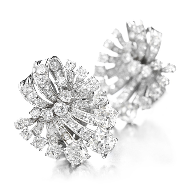 A Pair of Diamond and Platinum Ear Clips, by Van Cleef & Arpels, circa 1946