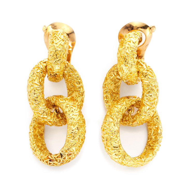 A Pair of Gold Ear Pendants, by Van Cleef & Arpels, circa 1970