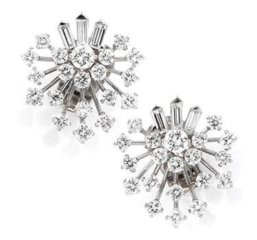A Pair Of Diamond And Platinum Ear Clips, By Van Cleef & Arpels, Circa 1950