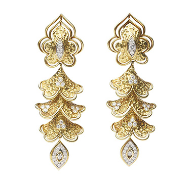 A Pair of Gold and Diamond Ear Pendants, by Van Cleef & Arpels, circa 1970