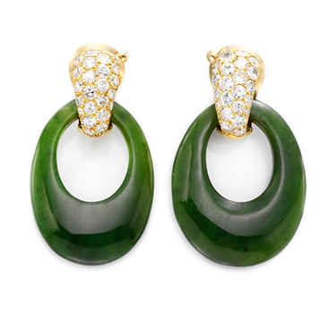 A Pair Of Jade And Diamond Ear Pendants, By Van Cleef & Arpels, Circa 1975