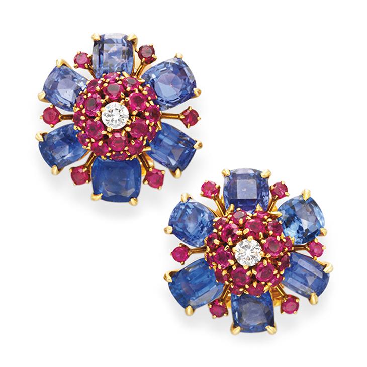 A Pair of Retro Multi-gem and Diamond Flower Ear Clips, by Van Cleef & Arpels