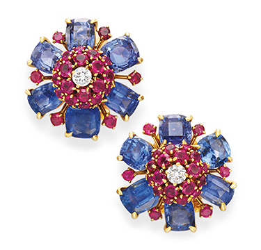 A Pair of Retro Multi-gem and Diamond Flower Ear Clips, by Van Cleef & Arpels