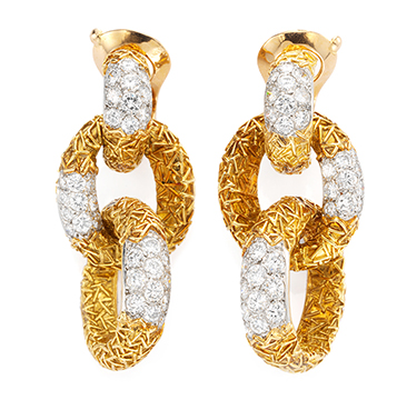 A Pair of Gold and Diamond Link Ear Pendants, by Van Cleef & Arpels