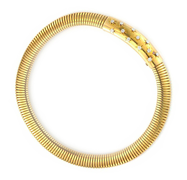 A Retro Gold and Diamond Tubular Necklace, by Van Cleef & Arpels, circa 1940