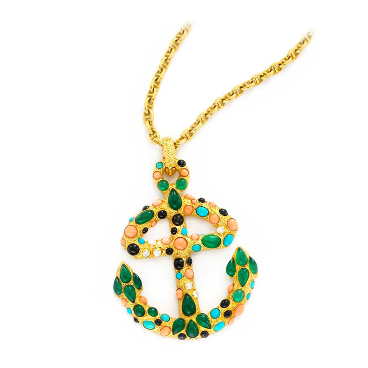 A Coral, Chrysoprase and Diamond Anchor Pendant, by Van Cleef & Arpels, circa 1965