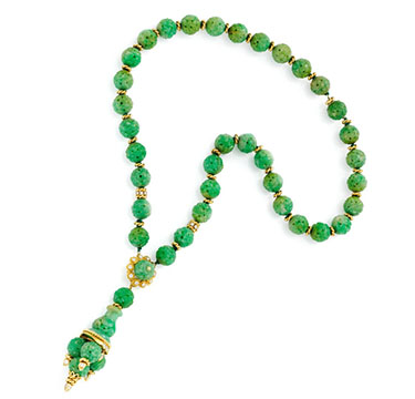A Carved Jade, Diamond and Gold Sautoir, by Van Cleef & Arpels, circa 1970