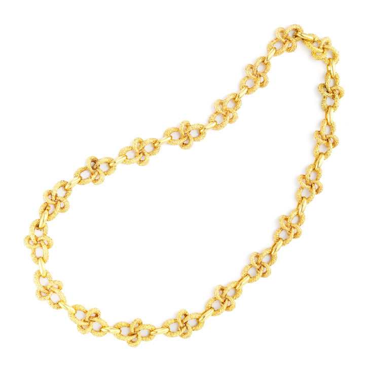 A Textured Gold Knot Long Chain Necklace, by Van Cleef & Arpels, circa 1970