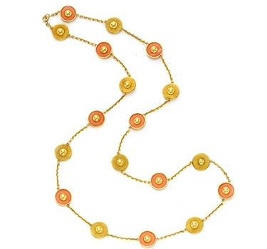 A Coral And Gold Long Chain Necklace, By Van Cleef & Arpels, Circa 1960