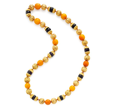 An Amethyst, Amber and Gold Bead Necklace, by Van Cleef & Arpels