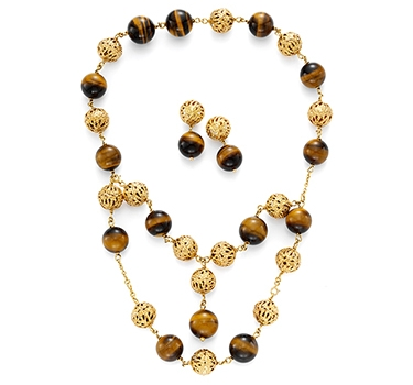 A Tiger's Eye And Gold Necklace And Ear Clips, By Van Cleef & Arpels