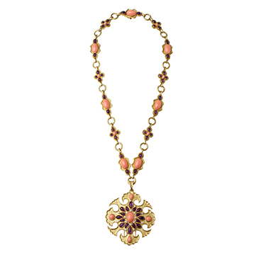 An Amethyst, Coral and Diamond Sautoir, by Van Cleef & Arpels, circa 1970