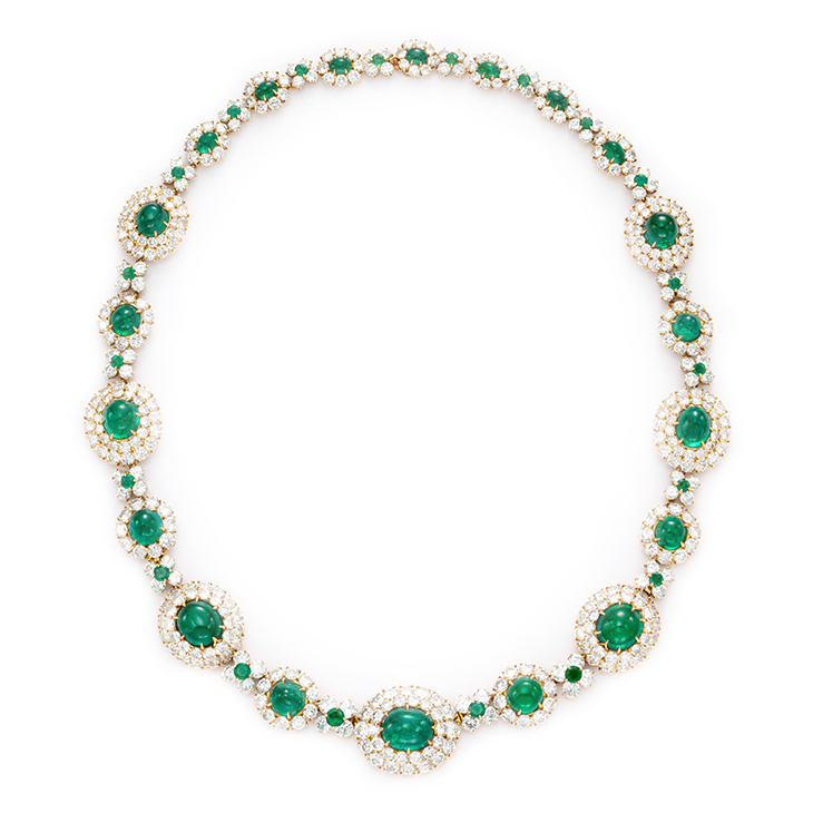 A Cabochon Emerald and Diamond Sautoir, by Van Cleef & Arpels, circa 1965.Emeralds weighing approximately 97.19 carats, Diamonds weighing approximately 116.50 carats