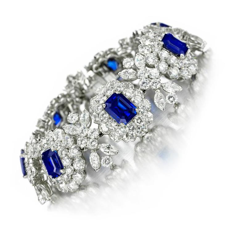 A Burmese and Kashmir Sapphire and Diamond Bracelet, by Van Cleef & Arpels, circa 1950