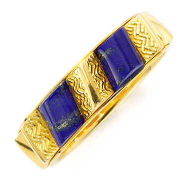 A Lapis Lazuli and Gold Bangle Bracelet, by Van Cleef & Arpels, circa 1970